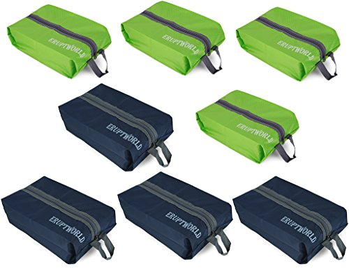 Shoe Bags for Travel Storage Gym Waterproof Nylon With Zipper for Men & Women (4 Green & 4 Blue)