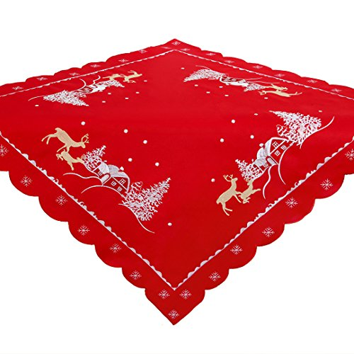 Simhomsen Christmas Holiday tablecloths Embroidered Reindeer 33