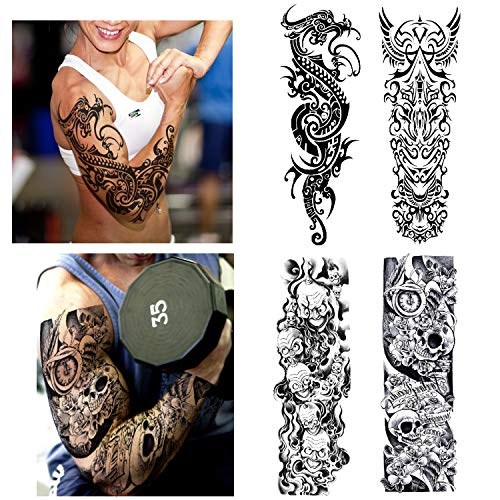 Konsait Full Arm Temporary Tattoo for Men Women Adult (4 Sheets), Waterproof Temporary Tattoo Arm Shoulder Tattoo Black Body Stickers Dragon and Skull