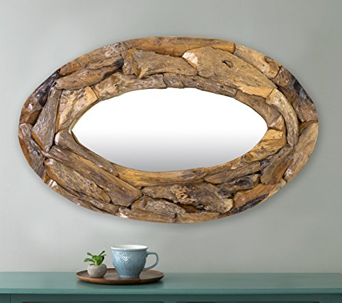 East at Main TT-RT-NT604-OV Natalia Southwestern Oval Recycled Teakwood Mirror by East At Main