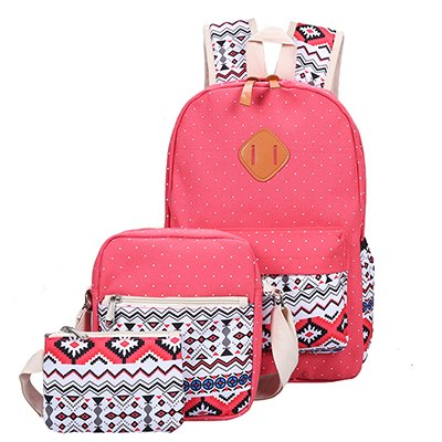 Mefly Sac À Dos De Randonnée Sac À Dos Impression Toile Jeu Cute Femmes Bookbags Léger Moyen Haut Sacs D'École Pour Les Jeunes Filles, Rouge