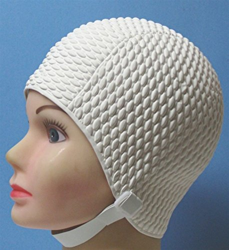Bubble Crepe Swim cap with Chin Strap (Adult Size)
