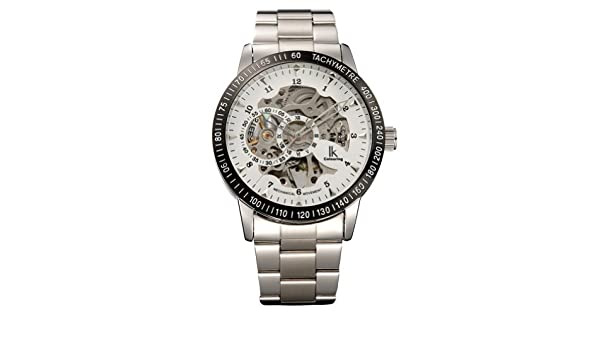 Amazon.com: Ik Colouring mens Hollow Black Case Silver Dial Shell Silver Stainless Steel Band Mechanical Watches: Watches