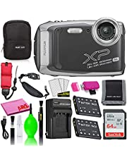 $236 » Fujifilm FinePix XP140 Waterproof Digital Camera (Dark Silver) Accessory Bundle with 64GB SD Card + Small Camera Case + Extra Battery + Battery Charger + Floating Strap + More