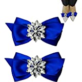 WINGOFFLY 1 Pair Decorative Rhinestone Ribbon Bow Wedding Party Shoe Clip(Royal Blue)