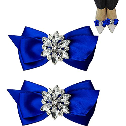 WINGOFFLY 1 Pair Decorative Rhinestone Ribbon Bow Wedding Party Shoe Clip(Royal Blue) by WINGOFFLY