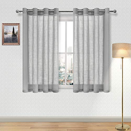 DWCN Faux Linen Sheer Curtain - Semi Transparent Grommet Voile Curtains for Bedroom Living Room 52 x 54 Inch Length, 2 Panels, Grey