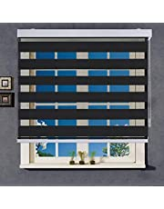 WYMO Zebra Blinds Black - 48 x 64 inch - Sheer Horizontal Window Blinds and Shades for Daytime and Nighttime - Light Filtering Roller Shades for Windows