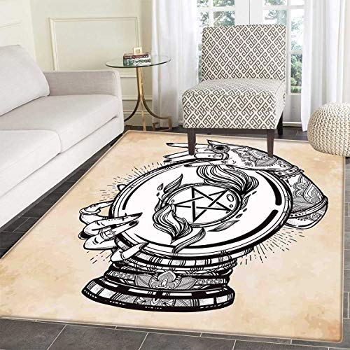 Occult,Bath Mats Carpet,Illustration of Medium Crystal Ball for Mystery with Tattooed Hands Future Psychic,Floor Mat Pattern,Tan Black,4'x5'