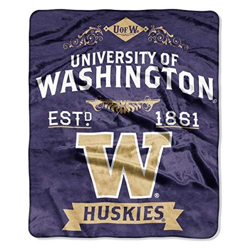 The Northwest Company Officially Licensed NCAA Washington Huskies Label Plush Raschel Throw Blanket, 50