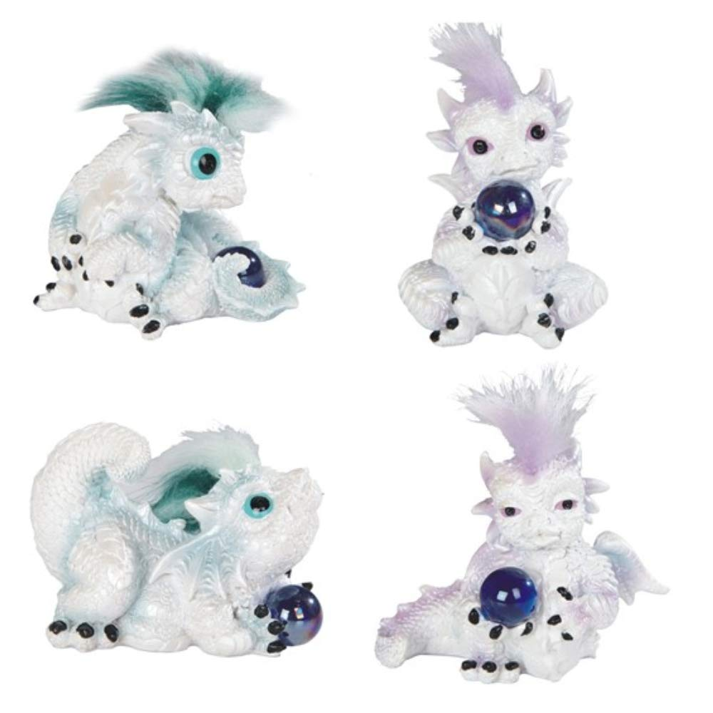 Paykoc Imports Furry Haired Dragon Baby, 4 Piece Set, 3'' H