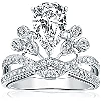 Women Fashion Diamonique CZ 925 Sterling Silver Crown Ring Wedding Jewelry New (8)