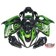 VITCIK (Fairing Kits Fit for Suzuki GSXR1300 GSX-R 1300 GSXR 1300 Hayabusa 2008 - 2015) Plastic ABS Injection Mold Complete Motorcycle Body Aftermarket Bodywork Frame (Green & Black) A030