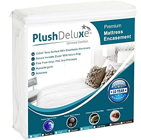 Premium Zippered Mattress Encasement, 100% Waterproof, Bed Bug/Dust Mite Proof And Hypoallergenic Cotton Terry Surface, 6 Sided Mattress Protector (Fits 9''-12'' H) QUEEN SIZE, 10-Year - Allerzip Waterproof Bed Bug