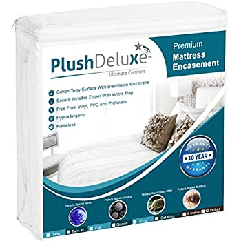 PlushDeluxe Premium Zippered Mattress Encasement, Waterproof, Bed Bug & Dust Mite Proof 6-Sided Protector Cover, Hypoallergenic Cotton Terry Surface (Fits 9-12 Inches H) Twin,10-Year Warranty