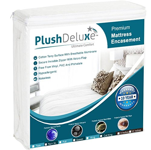PlushDeluxe Premium Zippered Mattress Encasement, Waterproof, Bed Bug & Dust Mite Proof 6-Sided Protector Cover, Hypoallergenic Cotton Terry Surface (Fits 12-15 Inches H) Cal King, 10-Year ()