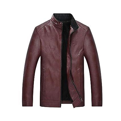 Amazon Com Yaxuan Men S Basic Pu Leather Jacket Solid Colored