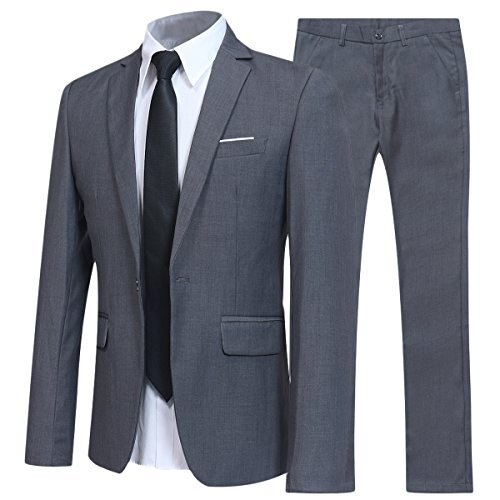 YFFUSHI Slim Fit 2 Piece Suit for Men One Button Casual/Formal/Wedding Tuxedo,Grey,XX-Large by YFFUSHI