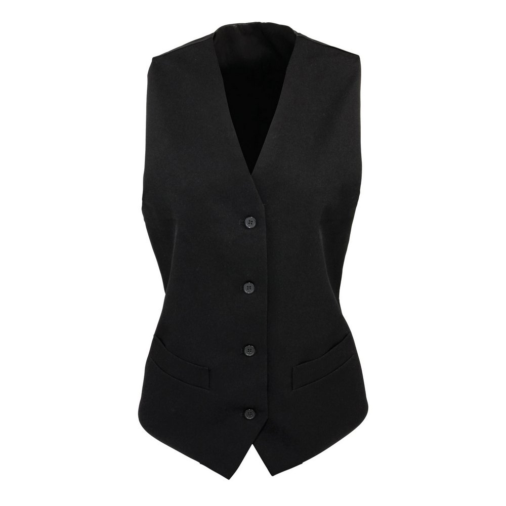 Premier Womens lined polyester waistcoat Black S
