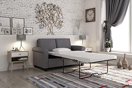 DHP Premium Sofa Bed, Pull Out Couch, Sleeper Sofa with Pull Out Bed, Twin Size Gray Linen Sofa Sleeper, Coil Mattress Included, Convertible Couch, Sturdy Wood Frame with 400 lb Weight Limit