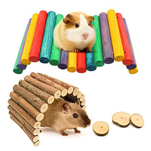 Wooden Ladder Bridge, Hamster Wooden Bridge Mouse Rodents Chew Toy Rat Natural Hideout Ladder, Small Animals Cage Wood Ladder for Guinea Pig Chinchilla Ferret Reptile (2 Ladder)