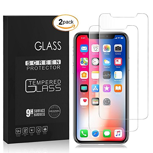 iPhone X Screen Protector, [2-pack] Clear film Anti-Scratch and anti-Fingerprint High Light Tempered Glass Screen Protector