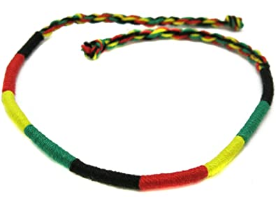 Bracelet Tissu Tres Fin Femme Homme Rasta Jamaique Reggae