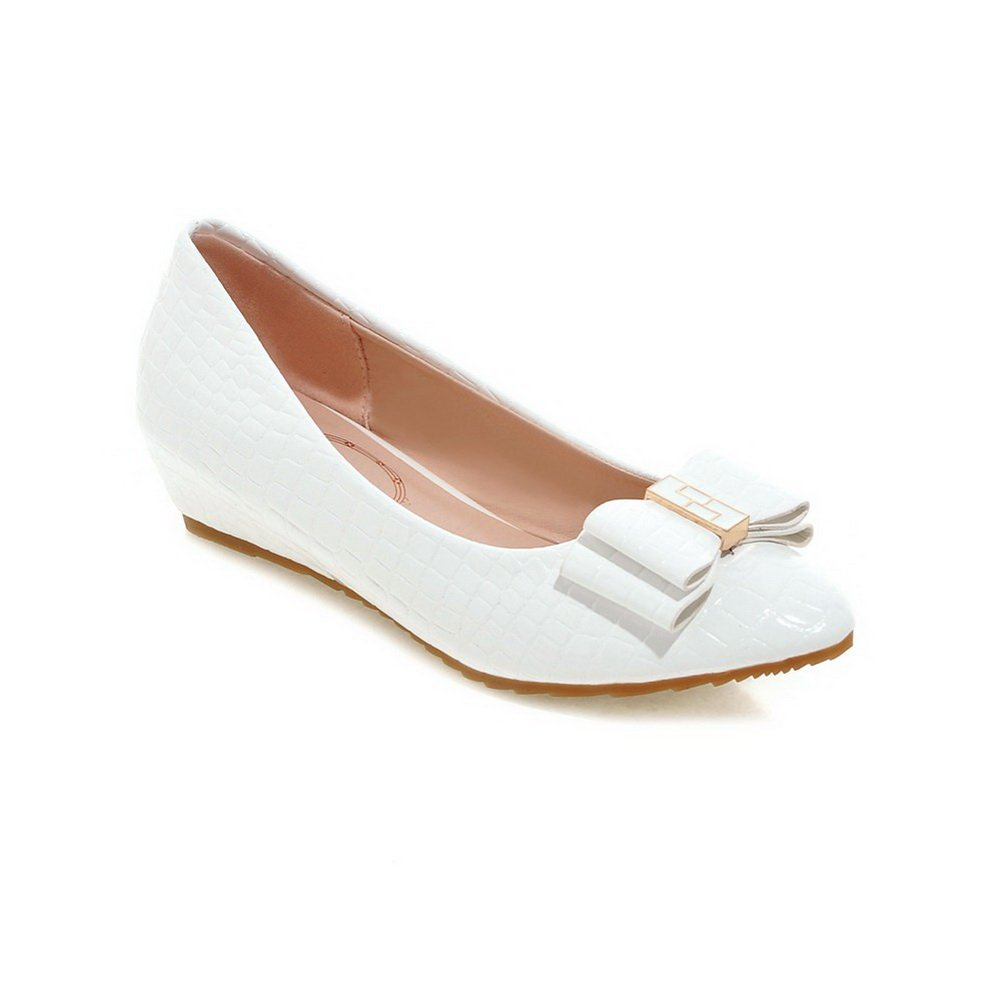 BalaMasa Ladies Bows Wedges Low-Cut Uppers White Patent-Leather Rock-Climbing-Shoes - 6 B(M) US