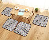 Leighhome Comfortable Chair Cushions Blueberries Pistachios and French Macarons in Watercolors Polka Dots Purple Green Blue Reuse can be Cleaned W17.5 x L17.5/4PCS Set