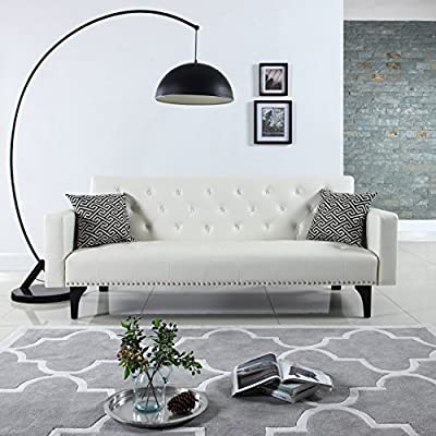 Modern Tufted Bonded Leather Sleeper Futon Sofa with Nailhead Trim in White, Black