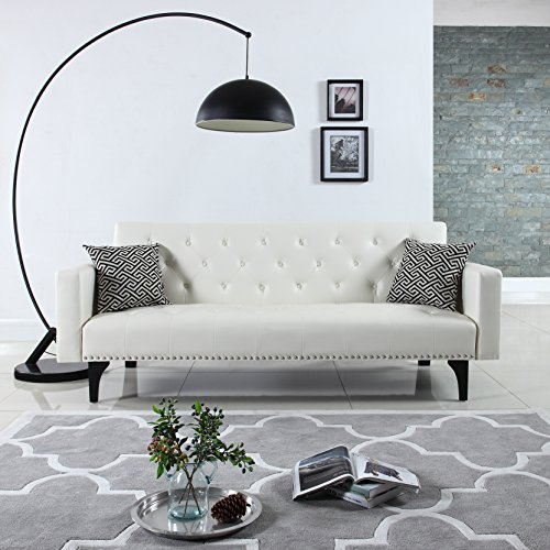 Modern Tufted Bonded Leather Sleeper Futon Sofa with Nailhead, White (Tufted Couch Set)