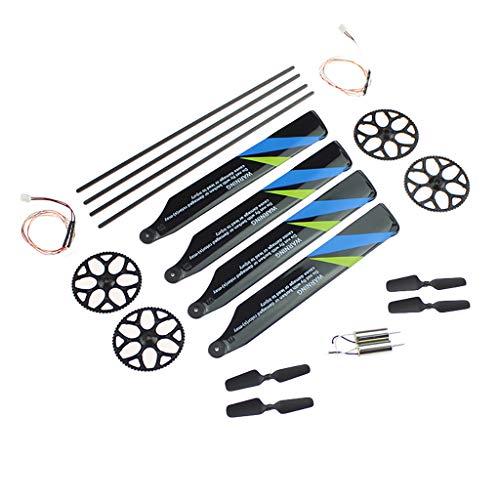 Chercherr Drone Replacement Propeller Set, Propeller+ Tail Rotor+ Tail Rod+ Tail Motor+ Wire Drone Spare Repair Upgrade Part for Wltoys V911S RC Helicopter (12PC)