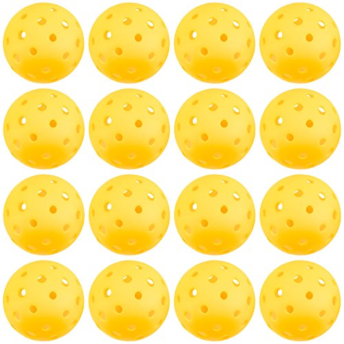 Crown Sporting Goods Pickleball Balls, Standard Size (40 Hole Pattern) - Outdoor Game, Practice, Training Polymer Balls, Goldenrod Yellow (12-Pack)