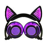 YRD Tech Kids Headset-Wireless BT,Universal Compatibility,Foldable Headphones,LED Glow with Cat Ear LED On Ear for Kids Earphone (Purple)