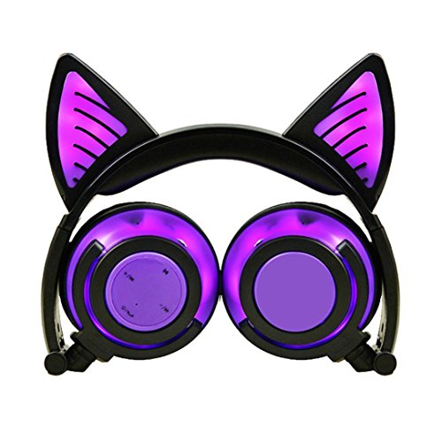 YRD Tech Kids Headset-Wireless BT,Universal Compatibility,Foldable Headphones,LED Glow with Cat Ear LED On Ear for Kids Earphone (Purple) by YRD TECH
