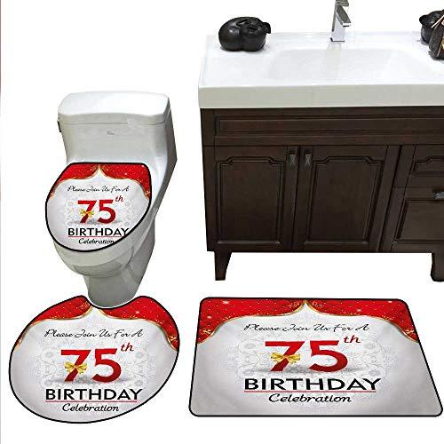 Anshesix 75th Birthday Bath Rug Set Piece Royal Classical Birthday Party Floral Invitation Ceremony Please Join Us bathmat Toilet mat Set Multicolor ()