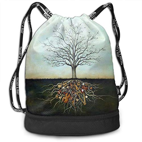 Bulk Drawstring Backpack, Lightweight Gym Sport Bundled Bag Wet Dry Separated Yoga String Cinch Tote Bag Multipurpose Casual Bag For Adult Kids - Music Tree]()