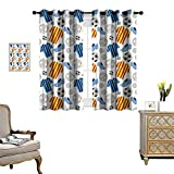 homehot Soccer Room Darkening Wide Curtains Sports Clothes Professional Player Athlete Shoes Hand Drawn Style League Match Game Decor Curtains by Multicolor