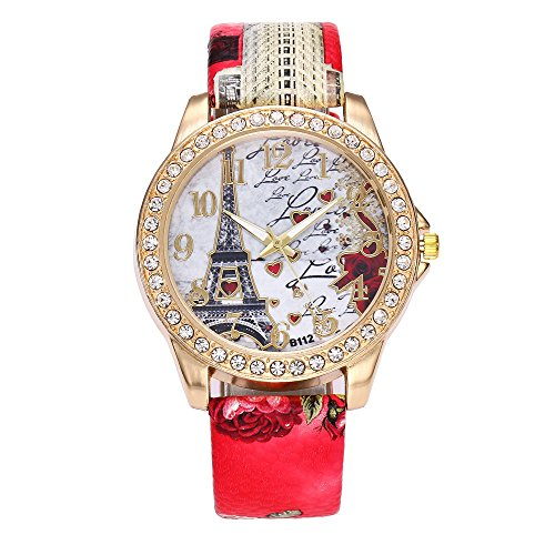 Fxbar,Fashion Women Quartz Diamond Watches Luxury Crystal Bracelet Watches Valentine's Day Dress Watch(Red)