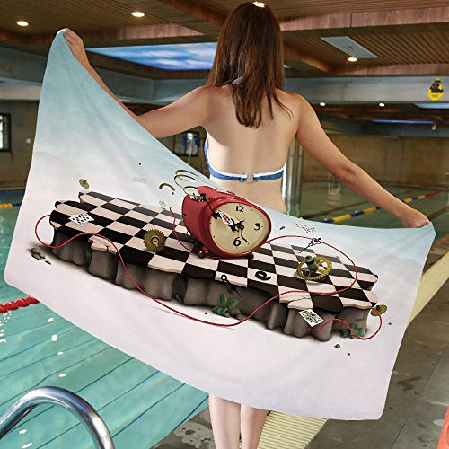 """55.11""""W x 27.55""""L Cotton Microfiber Bath Towel [ Surrealistic,Abstract Time Theme with Fiction Podium with Old Clock Cards and Rope Icon Decorative,Multicolor ] for Hotel SPA Beach Pool Bath,Unisex To"""
