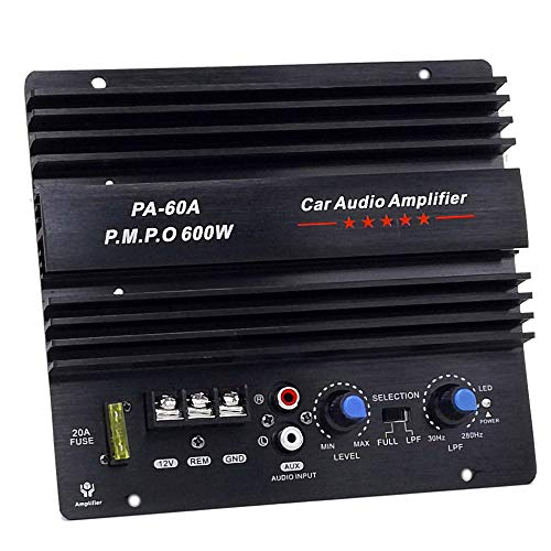 PA-60A Car Amplifier Power Subwoofer Amplifier Board Car Audio HiFi Mono Amp 12V 600W