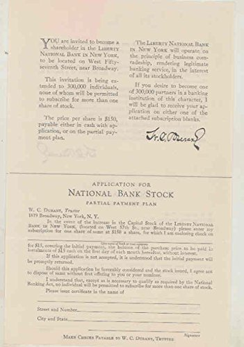 National Bank Stock - 1922 Durant Liberty National Bank Stock Offering Application