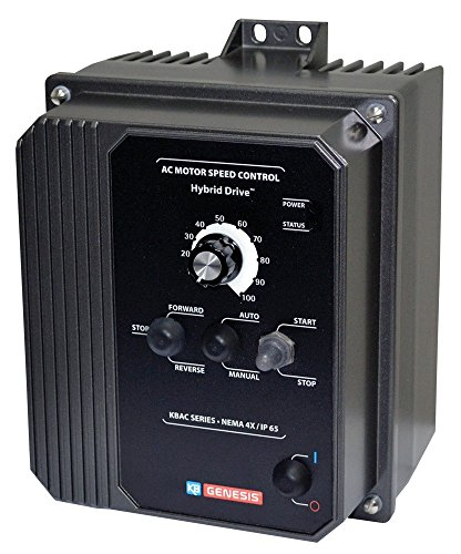 - KB Electronics, 9520, KBAC-27D (Gray), 1.5;2HP, 1-Phase, 110-120V;200-240V (Input), Nema 4X Enclosure, Variable Frequency Drives