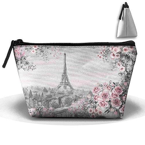 Oil Painting Summer In Paris Makeup Bag Large Trapezoidal Storage Travel Bag Zipper Waterproof by MANNIU