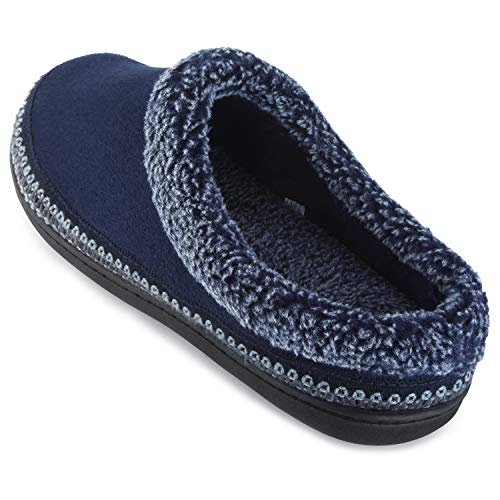 Microfiber Clog Suede (ULTRAIDEAS Men's Cozy Memory Foam Moccasin Suede Slippers with Fuzzy Plush Wool-Like Lining, Slip on Mules Clogs House Shoes (Medium / 9-10 D(M) US, Navy Blue))
