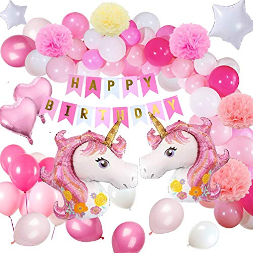 Unicorn Party Decorations - MMTX Birthday Set Unicorn Themed Party Supplies for Kids Girls Boys Children Toddlers With 1 Happy Birthday Banner 2 Huge Unicorn Balloons 30 Latex Party Balloons 6 Paper Flowers]()