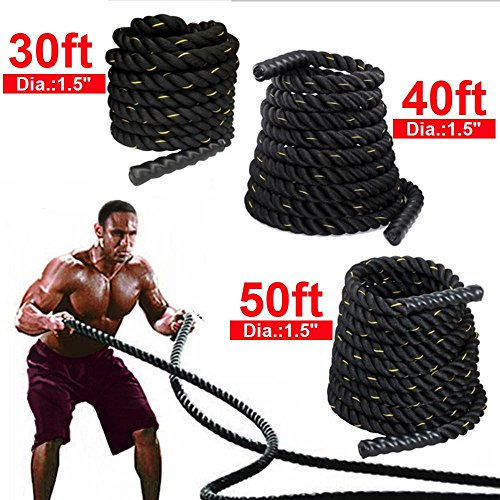 """Yaheetech 1.5""""/ 2"""" Polyester 30/40/50ft Battle Rope Workout Cardio & Core Strength Training Fitness Undulation Rope Exercise"""
