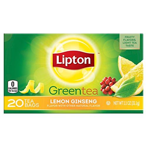 Ginseng Plus Green Tea - Lipton Green Tea Bags, Lemon Ginseng, 20 ct