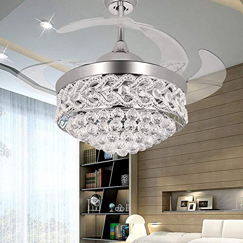 RS Lighting Chandelier Ceiling Fan with Crystal for Room Decoration 42 Inch Shrinkable Blades Invisible Ceiling Fan Led 32W Has 3 Light Color for Indoor Outdoor Living Dining Room Corridor Silver