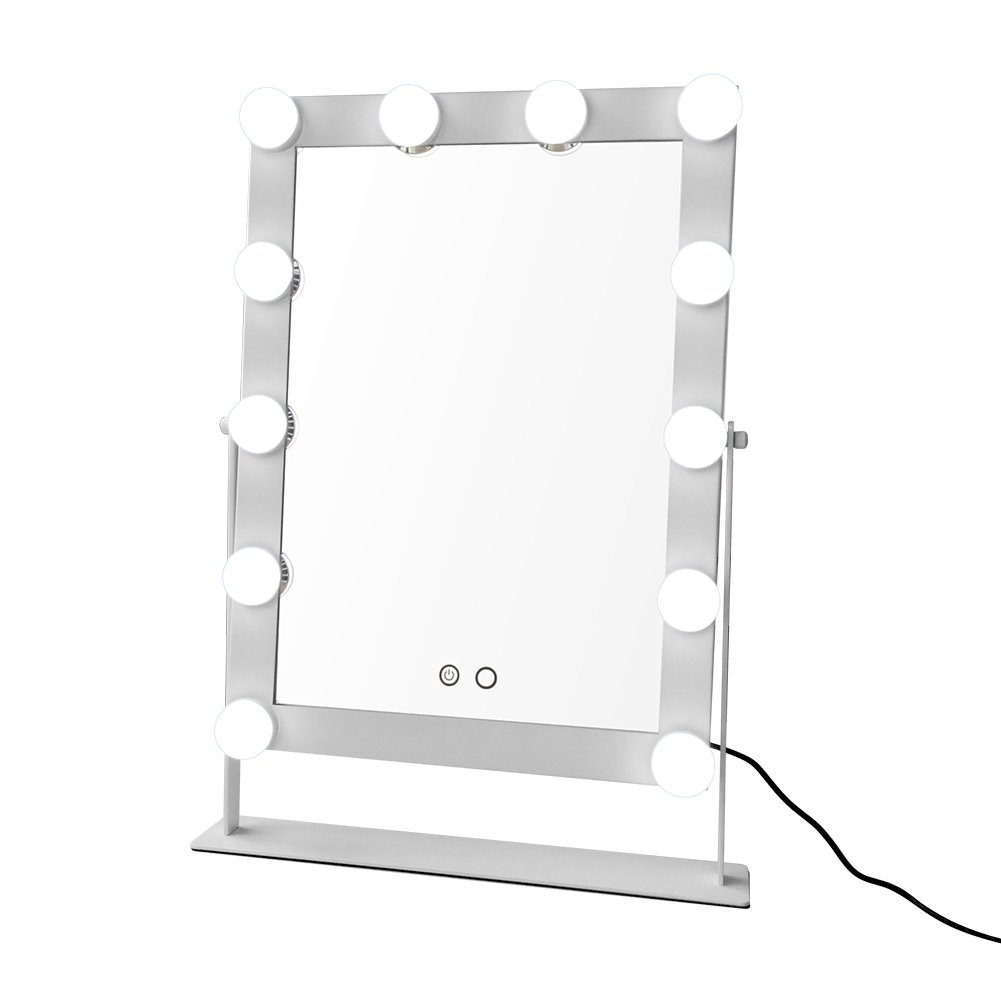 Geek-House Tabletops Lighted Vanity Mirror with 12 x 3W Dimmable LED Bulbs and Touch Control Design, Hollywood Style Makeup Cosmetic Mirrors with Lights White by GeekHouse (Image #1)